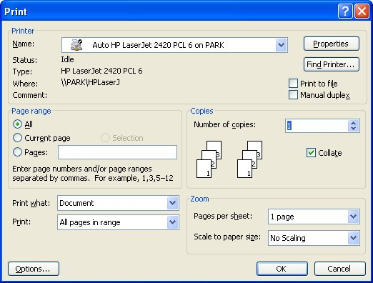 Choose The Print Option From File Menu Or Simply Press Ctrl P Word Displays Dialog Box See Figure 1