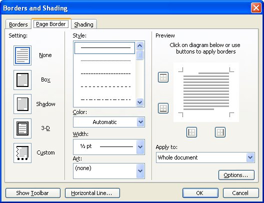 Figure 1 The Page Border Tab Of Borders And Shading Dialog Box