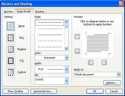 Controlling Where a Full-page Border is Printed (Microsoft Word)