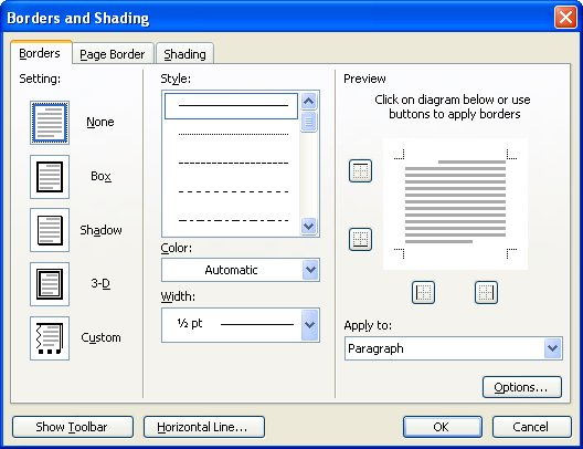 Removing Automatic Lines Microsoft Word