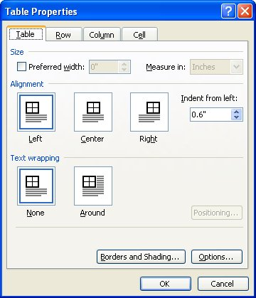 Indenting a Table (Microsoft Word)