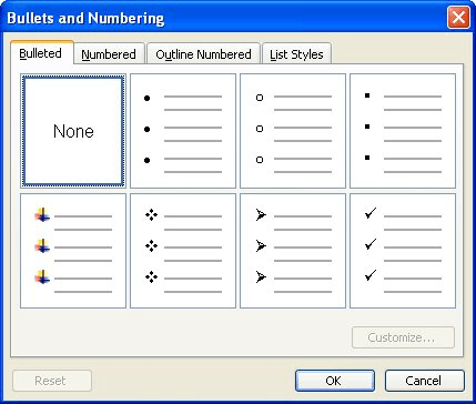 Changing The Bullet Type Microsoft Word