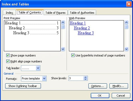 Creating a table of contents from heading levels microsoft word the table of contents tab of the index and tables dialog box pronofoot35fo Choice Image