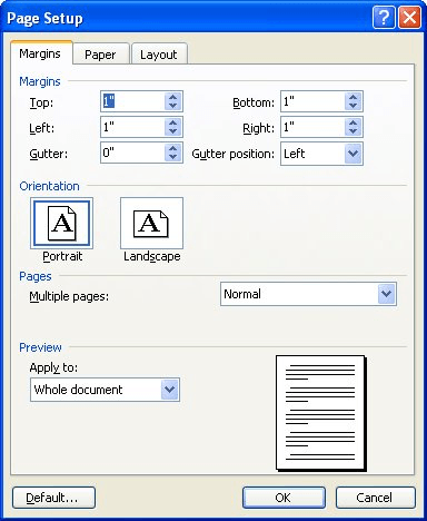 figure 1 the margins tab of the page setup dialog box