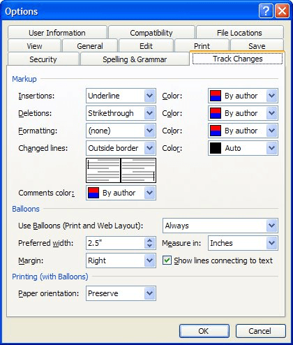 Changing How Changes are Noted in Word (Microsoft Word)