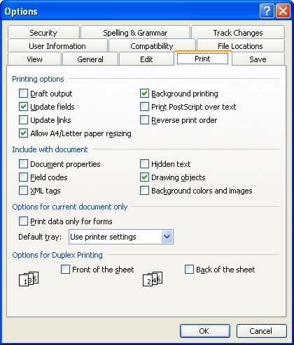 The Print Tab Of Options Dialog Box