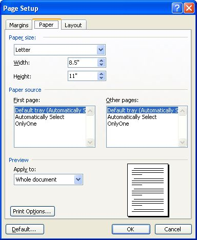 how to change size in microsoft word 2010 to inches
