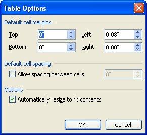 Changing Spacing Between Table Cells Microsoft Word