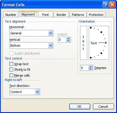 Setting Horizontal Alignment (Microsoft Excel)