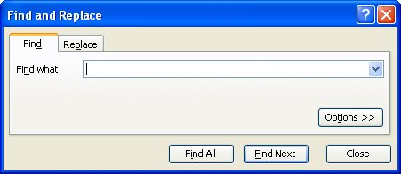 how to open find and replace dialog box