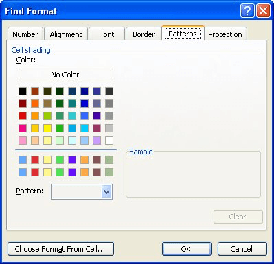 Finding cells filled with a particular color microsoft excel the patterns tab of the find format dialog box ibookread Read Online