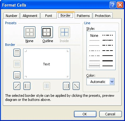 Adding Borders to Cells (Microsoft Excel)