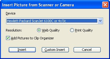 Inserting from a Camera or Scanner (Microsoft Excel)