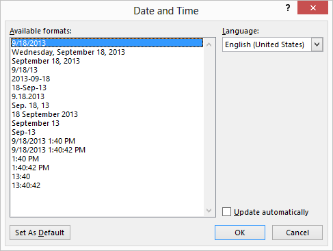 Inserting Today S Date Microsoft Word