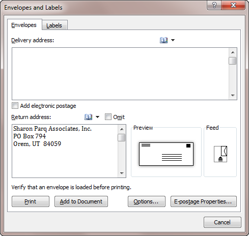 Click The Envelopes Tool In The Create Group. Word Displays The Envelopes  Tab Of The Envelopes And Labels Dialog Box. (See Figure 1.)  Format Labels In Word