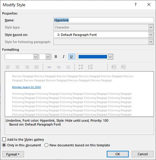 Hyperlink Formatting (Microsoft Word)