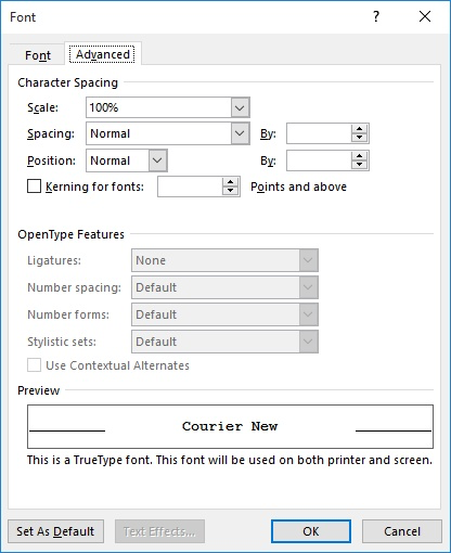 Creating Thin Spaces (Microsoft Word)
