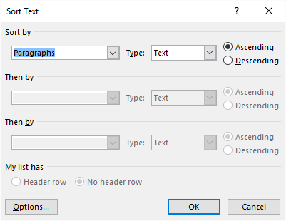 Controlling Sorting Order (Microsoft Word)