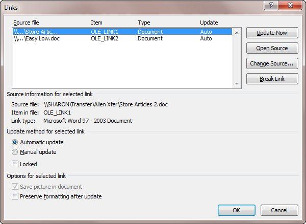 Updating Document Links (Microsoft Word)