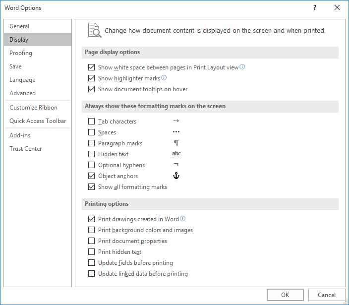 The Display Options Of Word Dialog Box