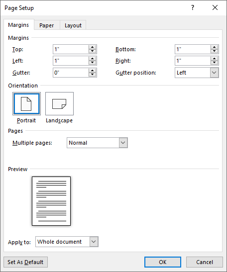 Figure 1 The Margins Tab Of Page Setup Dialog Box