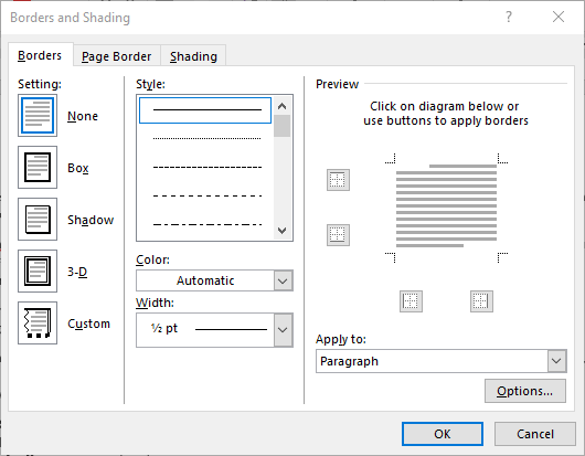 Figure 1 The Borders And Shading Dialog Box