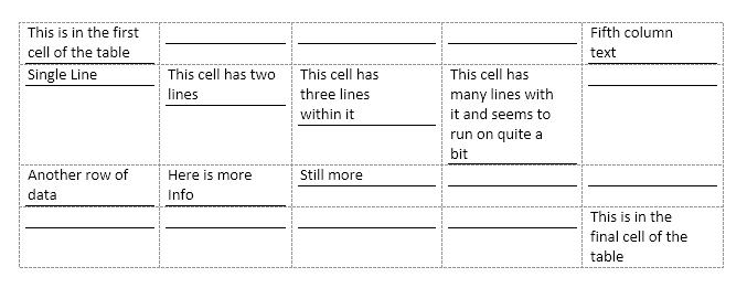Underlining Cells, Not Space Between Cells (Microsoft Word)