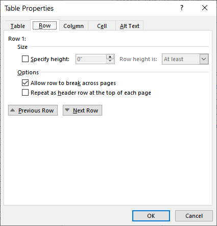 Stopping Row Breaking for Many Tables (Microsoft Word)