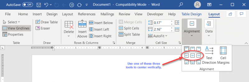Centering Information in Table Cells (Microsoft Word)