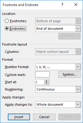 Default Numbering Format For Endnotes Microsoft Word