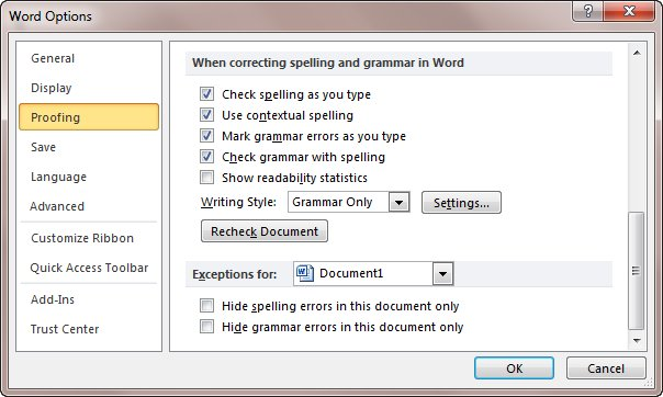 spell check misses misspelled words microsoft word  figure 1 the word options dialog box