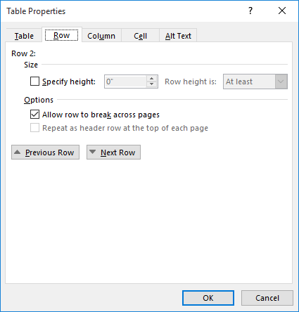 How to Stop a Table Row from Splitting Over Two Pages (Microsoft Word)
