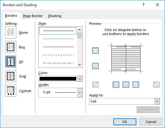 The Borders Tab Of And Shading Dialog Box