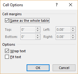 Fitting Text Into Cells (Microsoft Word)
