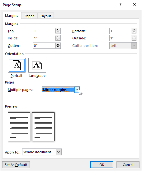 Understanding Mirror Margins Microsoft Word