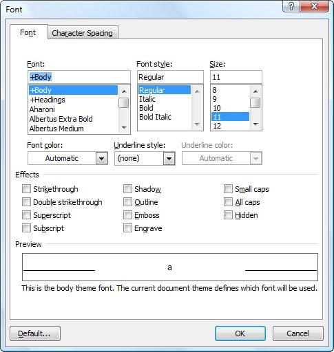 The Font Dialog Box