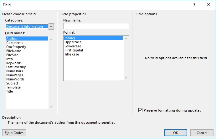 word displays the field dialog box see figure 1