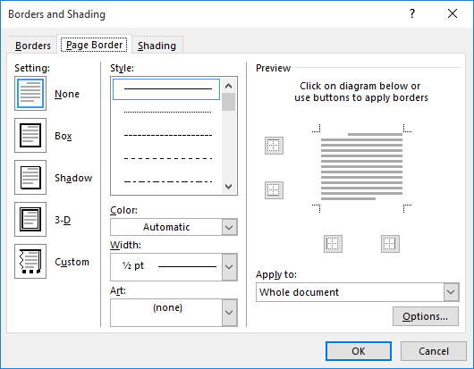 Click The Page Borders Tool In Background Group Word Displays Border Tab Of And Shading Dialog Box See Figure 2