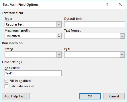 Working with Form Fields (Microsoft Word)