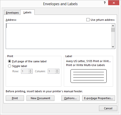 how to print labels from word 2010