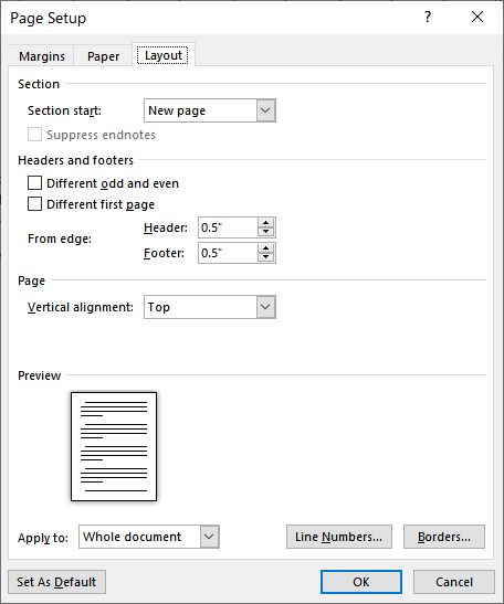 Positioning Headers and Footers (Microsoft Word)