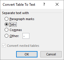 Converting A Table Into Text Microsoft Word