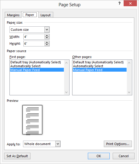how to change print size of paper in microsoft word