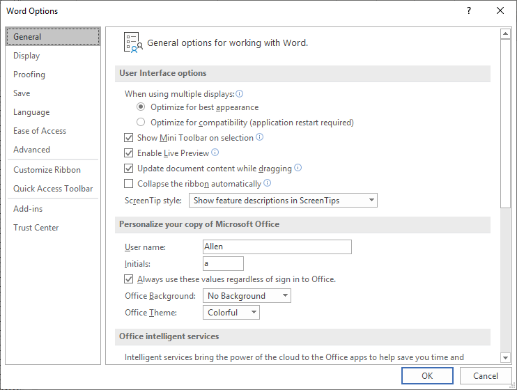 Setting User Information (Microsoft Word)
