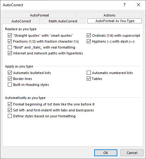 Figure 1 The AutoFormat As You Type Tab Of AutoCorrect Dialog Box