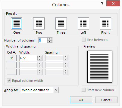 Changing Column Width (Microsoft Word)