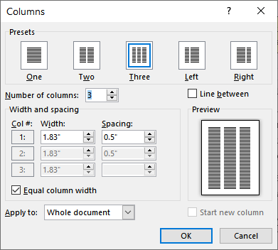 Changing Column Width (Microsoft Word)