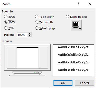 displaying a single page microsoft word