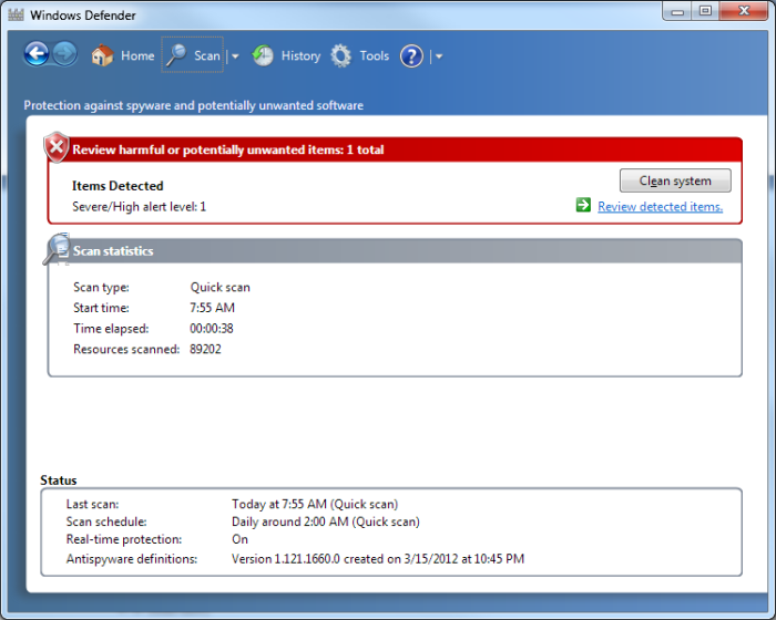 Removing Spyware with Windows Defender (Tips Net)