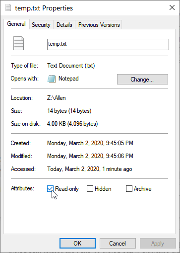 change file from read only